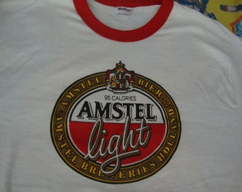 Vintage 80's AMSTEL LIGHT Beer Soft Thin Ringer New Rare party punk rock T Shirt Adult Size L
