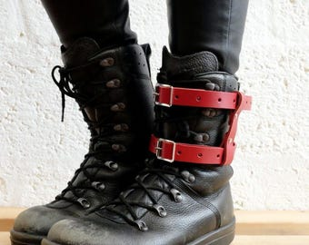 Unisex Real Leather Double Strap Boot Garter - Red - Steampunk - Burning Man - apocalypse - please read description for size