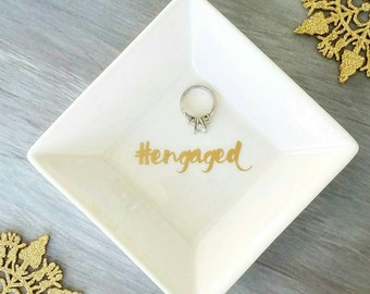 Engagement ring dish, #engaged ring dish, wedding ring holder, instagram photo prop, engagement gift, gift for bride, beauty room decor