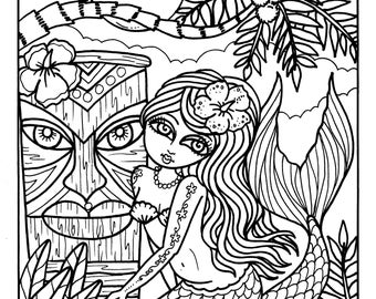 Instant Download 5 Pictures Tiki Bar Mermaids Coloring Pages Adult Color Digital Art Tropical Hawaiian
