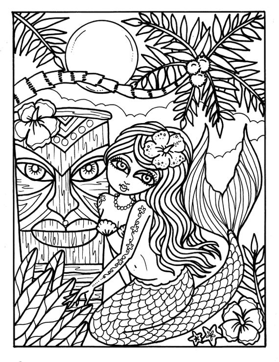 Instant Download 5 pictures Tiki bar mermaids Coloring pages