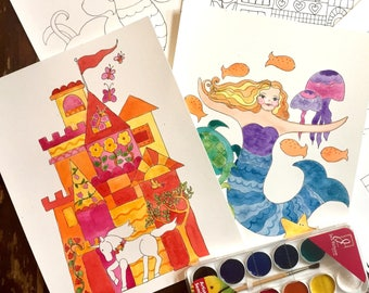 WATERCOLOR Painting Kit - Mermaids, Castle, and Unicorns