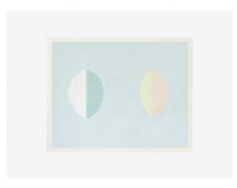 minimal abstract pastel blue original screenprint, Scandinavian home, contemporary art, modern print by Emma Lawrenson