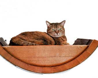 BIRALA Wine Barrel  Wall Hanging Cat Bed