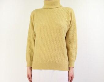 VINTAGE Cashmere Sweater Yellow Pringle of Scotland