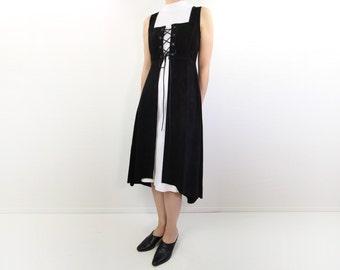 VINTAGE Suede Dress Black Corset