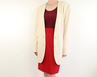 VINTAGE Calvin Klein Ivory Blazer 1990s Minimalist Wool Jacket