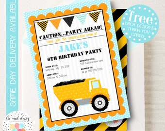 Construction Dump Truck Invitation, Dump Truck Birthday Invitation, Dump Truck Birthday Party, Dump Truck Party Invitation, BeeAndDaisy