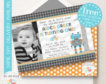 Robot Invitation, Robot Birthday Invitation, Robot Party, Boy First Birthday, Boy Birthday, Robot Invite, Robot Photo Invitation