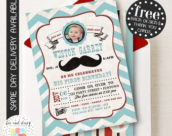 Mustache Invitation, Mustache Birthday Invitation, Mustache Party, Boy First Birthday, Boy Birthday, Vintage Mustache Photo Invite