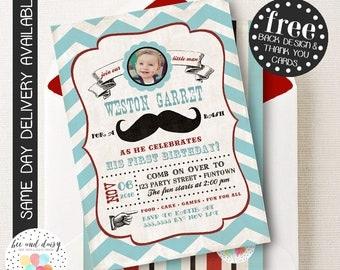 Mustache Invitation, Mustache Birthday Invitation, Mustache Party, Boy First Birthday, Boy Birthday, Vintage Mustache Photo Invite