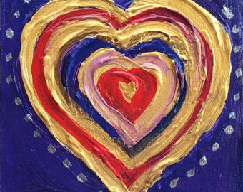 """Heart Painting, Red Blue and Gold on Blue Background Original Painting, Mini Painting 5""""x5"""" thick stretched Canvas, perfect small Gift Item"""