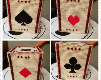 Vintage Hand Made Tissue Box Cover Suits Hearts Spades Diamonds Clubs Cards Viva Las Vegas