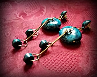 Mottled Blue Wire Shoulder Duster Earrings