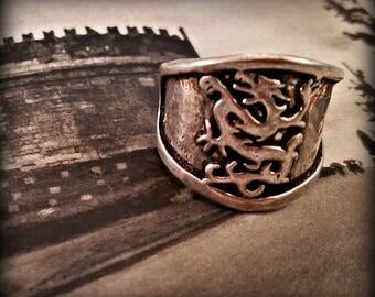 Silver Medieval Dragon Ring