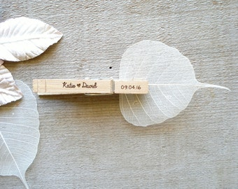 30 Custom Clothespin Wedding Favors place card holders