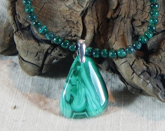 """Deep green malachite necklace 20"""" long natural reversible freeform triangle pendant semiprecious stone jewelry packaged in a gift bag 12223"""