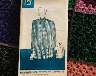 Vintage 20s 30s Mens & Youths Shirt Sewing Pattern Well Fitting Woman's World 15 Unused