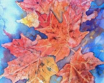 FLOATING LEAVES-Original Watercolor Painting