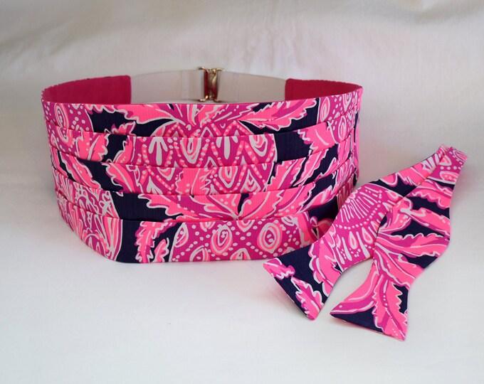 Cummerbund & Bow Tie set, navy/hot pink pineapples Coco Safari Lilly print, formal wedding party wear, tuxedo accessory, prom cummerbund
