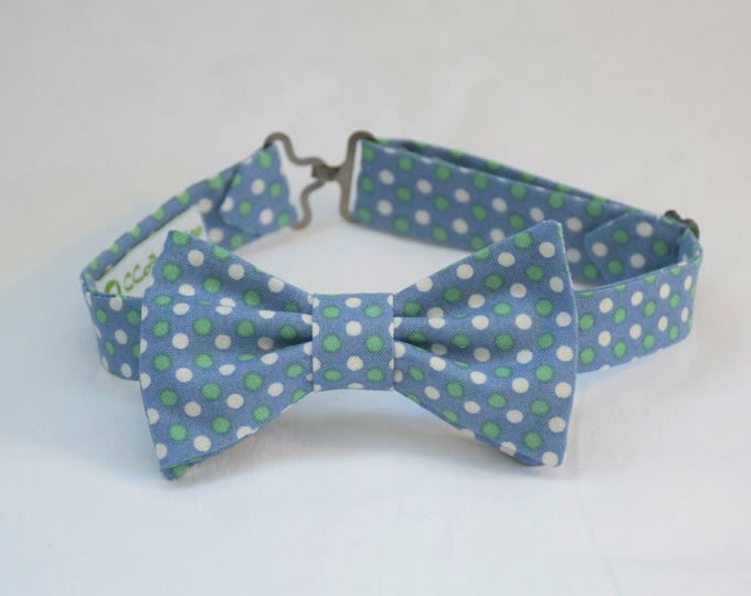 Boy's pre-tied Bow Tie, light blue/white/green dots, Easter bow tie, wedding accessory, toddler bow tie, pastel dots child bow tie, LAST ONE