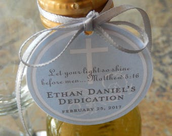 "Dedication Matthew 5:16 Custom Thank You 2"" Favor Tags - For Mini Wine or Champagne Bottles - Cookies - Mason Jar Favors - (50) Cross Tags"