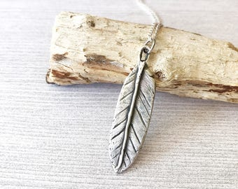 Feather Necklace, Long Fine Silver Pendant, Boho Bohemian Festival Jewelry, Rustic Artisan, Bird Lover Gift for Her, Handcrafted .999 FS