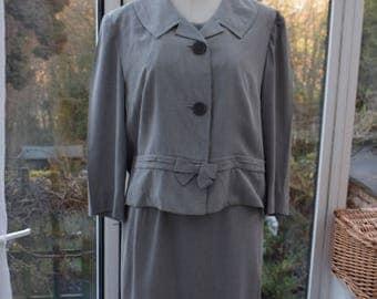 1960s 3 Piece Skirt Top & Jacket Set - Light Grey sz 36 waist