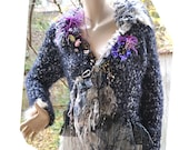 RESERVED For E Feminine  Soft Sweater Spider's Web Laces Snow Feathers SEXY VICTORIAN WOMAn Fairy Antique Millinery Gothic Tattered