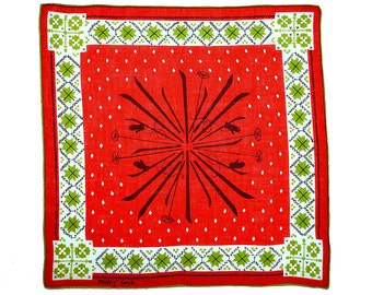 SIGNED HANKIE Tammis Keefe Mid Century Skies Snow Flakes Geometric Red White Green Christmas Linen Hand Rolled Hem Excellent Condition