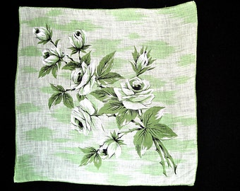 VINTAGE FLORAL HANKIE Variegated Green & White Rose Spray on Variegated Green Background Abstract Hand Rolled Hem Excellent Condition