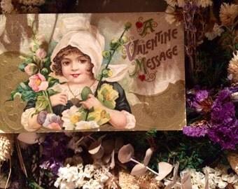 Vintage Valentine Postcard - Girl with Hollyhocks - Flowers - Hearts