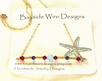 Gemstone Bar Necklace, Aquamarine, Lapis Lazuli, Ruby Crystals, Minimalist Necklace, Gold Necklace, Gift Idea for her, Layering Necklace