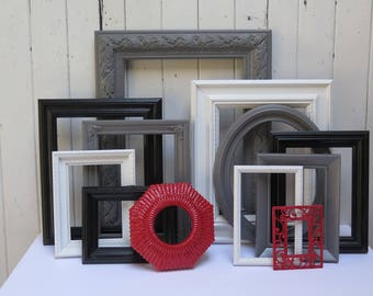 Painted Picture frame set of 12 - Dark Gray Black, White and Red frames lightly distressed