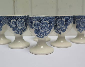 Egg Cups Blue Floral Staffordshire Transferware Set of 6