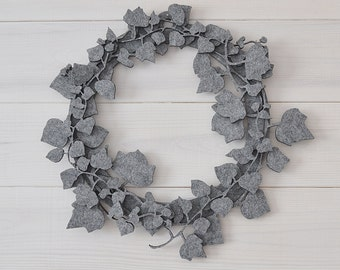 grey, wreath with leaves