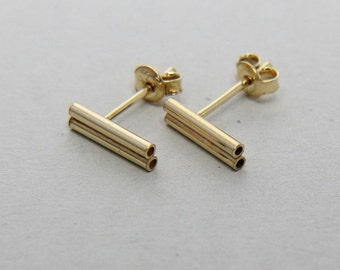 SALE, Bar Earrings, Gold Bar Stud Earrings, Doble Bar Post Earrings, Double Bar, Minimal Gold Bar Studs, Gold Bar Earrings, Gold Bar Post