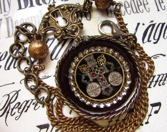 Madonna Enchanted antique religious reliquary necklace metallic trim velvet jeweled cross Victorian pocket watch case one of a kind jewelry