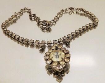 HolidaySale Vintage 1950s Rhinestone Pendant Choker Necklace-Wedding Necklace-Gatsby Necklace -Prom Necklace