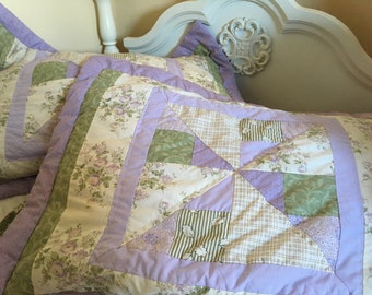 Vintage pair quilted floral pillow shams