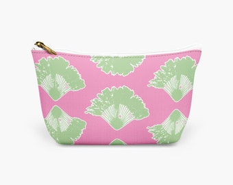 Women Makeup Travel Bag - Pink and Green Fan Palm Designer Cosmetic Bag - Bridesmaid Gift - Gift for Her Makeup Bag - Makeup Pouch