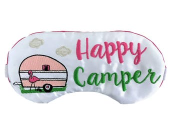 Happy Camper Sleep Mask Flamingo Glamping Airstream RV Camping Travel Trailer