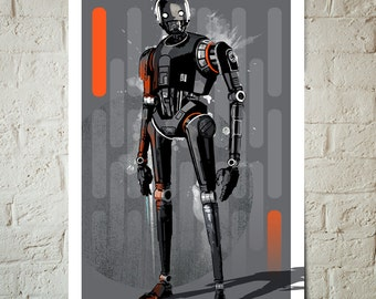 Star Wars Art - Rogue One K-2SO - Star Wars Poster, Art Print, Star Wars Fan Art Print, Star Wars Poster, Geekery Art, Star Wars gift