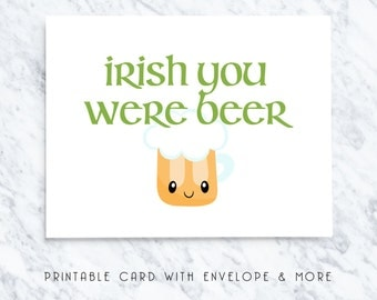 happy st patricks day card, st patricks printable card, funny st patricks card, st patricks card, funny cards, irish you were beer card