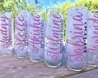 10 Personalized Wedding Glasses, stemless champagne glasses, personalized champagne glasses. bridesmaid glasses. bridesmaid proposal