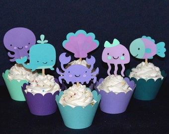 READY TO SHiP Purple Teal & Sea Green Under the Sea Cupcake Toppers Birthday Cake Decoration Baby Shower Octopus Whale Jellyfish Crab Fish