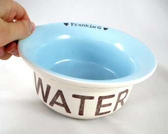 custom printed cat bowl, ceramic food & water dishes, personalized color options, gift for a pampered pet or cat lover, heavy duty cat bowl