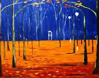 "rainy painting couple night park lights rain paintings original oil on canvas textured very large 30x40"" artist Mariana Stauffer"