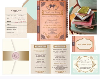 Love Story Book Wedding invitation. Invitation and Rsvp Sample