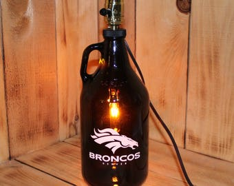 Denver Broncos Football Beer Growler Lamp with Night Light